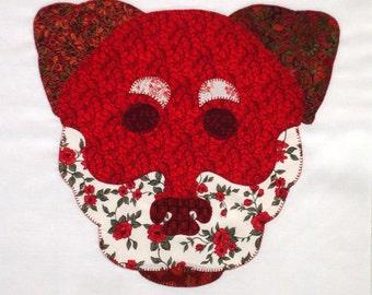 Red Rottweiler Appliqued Quilt Block