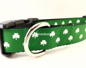 St Patricks Dog Collar, Luck of the Irish, 1 inch wide, adjustable, quick release, metal buckle, chain, martingale, hybrid, nylon