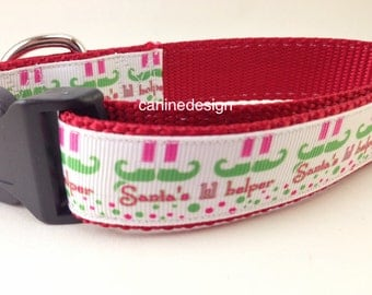 Christmas Dog Collar, Santa's Lil Helper,1 inch wide, adjustable, quick release, metal buckle, chain, martingale, hybrid, nylon