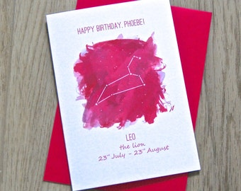 Cosmic Starsign Astrology Card – Personalised Birthday Card – Card for Friend – Zodiac Birthday Card – Date Birthday Card
