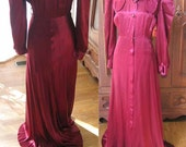Vintage Burgundy Satin Dressing Gown