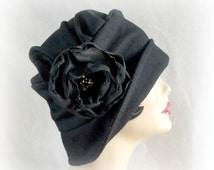 Black Wool Hat Downton Abbey Cloche The Alice Black Wool Cloche Flapper Style Hat Women's Winter Hats Couture Millinery Handmade in the USA