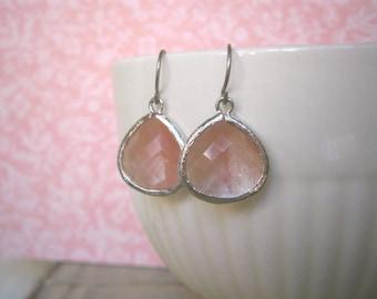 Pink Coral Earrings, Grapefruit Earrings, Silver Earrings, Best Friend Birthday, Mom Gift, Bridesmaid Earrings, Wife Gift
