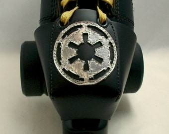 Leather Skate Toe Guards with Galactic Empire Symbol in Silver