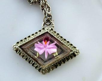 Vintage Reverse Carved Lucite Flower Pink Orchid LARGE Statement Pendant