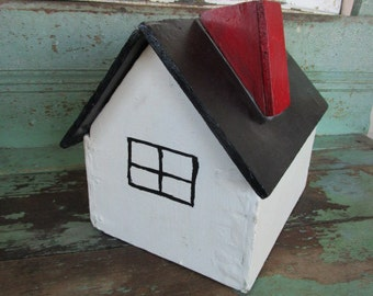 Vintage Box House Shape with removable lid Primitive White farmhouse