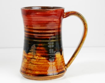 14 oz Mug Large Ceramic Red Mug with Red and Gold