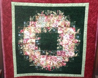 Floral Watercolor Quilted Wall Hanging