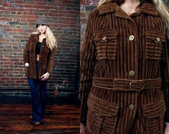 Vintage 60s Beatnik Jacket / 1960s Working Jacket / 1970s Bohemian / Brown Corduroy / 70s Boho Coat / Military Inspired / Medium