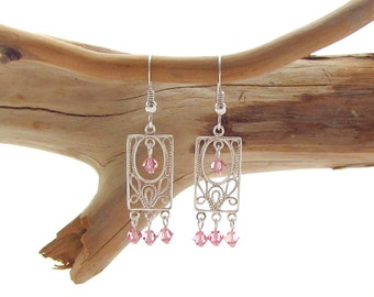 French Ear wire with Rectangular Chandelier with Rose Swarovski Bicones