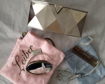 Judith Lieber Diamond-shape Clutch + Mirror & Comb