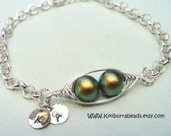Two Peas In A Pod Bracelet,Green Peas In A Pod Bracelet,Initial Bracelet,Pea Pod Jewelry
