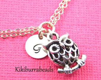 Silver Owl  Charm Bracelet,Initial Bracelet,Owl Charm Bracelet, Sisters Bracelet,Friendship Bracelet