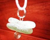 Irish Sea Glass Pendant - Unique Stacking Aqua and Green Sea glass