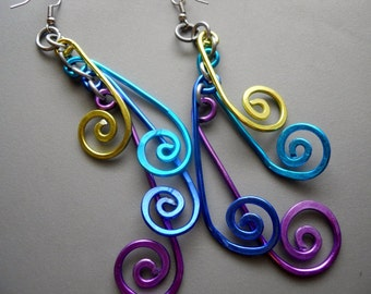 Long Outrageous Green Blue Purple Peacock Hammered Aluminum Wire Earrings