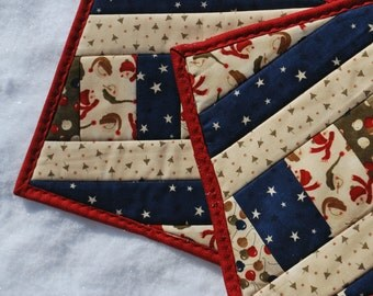 Cotton Quilted Potholders snackmats Cold Winter Noses set of two housewarming wedding gift Quiltsy Handmade