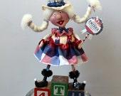 Folk Art Americana Patriotic Collectible Art Doll - Aunt Samantha