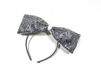 Silver Large Glitter Bow Fascinator Headband