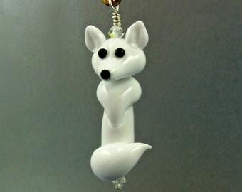 Fox Pendant - Arctic White - Lampwork Glass Beads SRA