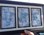 3 Letter UNC college quilled collage