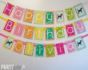 Girly Puppy Birthday Party Banner Fully Assembled Decorations Doggy Diva