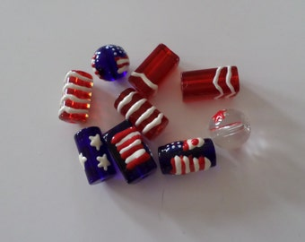 Patriotic Red White Blue Flag Lampwork Glass Beads