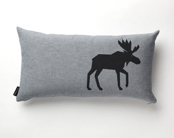 Moose Pillow in Denim with fill