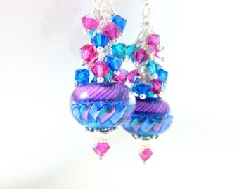 Colorful Crystal Dangle Earrings, Aqua Blue Pink Teal Glass Earrings, Bright Color Earrings Colorful Jewelry Lampwork Earrings Party Jewelry