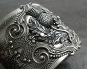 Outlander Jewelry Scottish Thistle Silver Statement Cuff Bracelet