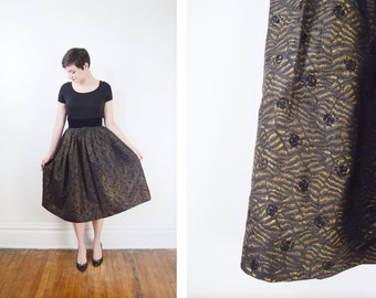 1950s Black and Gold Taffeta Skirt - S