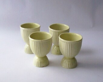 Antique/Vintage Egg Cups ~ Set of 4 White Egg Cups ~ Art Deco Appeal