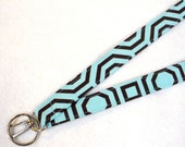 Alexander Henry Fabric Unisex Lanyard Breakaway Lanyard ID Badge Holder ID Clip Key Ring Fob Aqua Brown Hollywood Geometric MTO