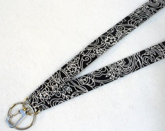 Black White Floral Fabric Womens Lanyard Breakaway Lanyard Designer ID Badge Holder Clip Key Ring Fob Starflower MTO