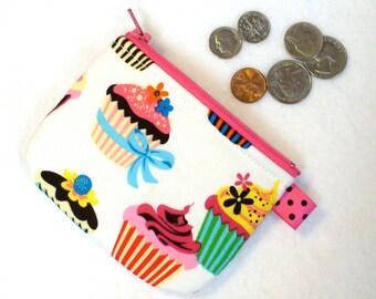 Fancy Cupcakes Mini Coin Purse Zipper Change Pouch Colorful Sweet Treats Robert Kaufman Little Girls Coin Purse Handmade MTO