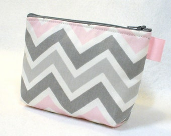 Pale Pink White Gray Zig Zag Bridesmaid Gift Cosmetic Bag Zipper Pouch Makeup Bag Gadget Pouch Chevron MTO