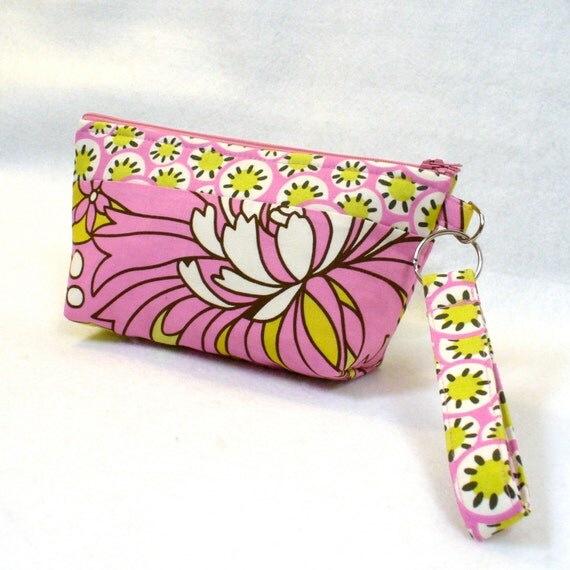 SALE! Cosmetic Bag Wristlet Clutch Purse Zipper Pouch Key Fob Amy Butler Wildflowers Rose Pink Chartreuse Floral Kaleidoscope Daisy Chain
