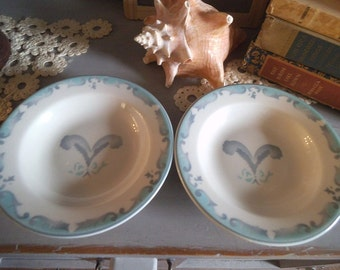 2 vintage Jackson China serving bowls ~ Gray and Aqua airbrush design on Ironstone