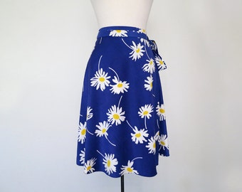 DAISY // shiny blue 1970s wrap skirt S / M / L / Xl