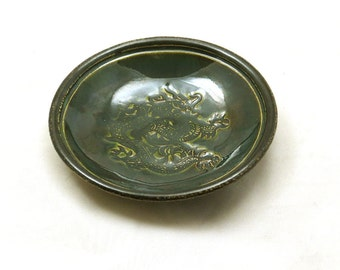 Pottery CHINESE Dragon Bowl Handmade Ceramic Pottery Decor