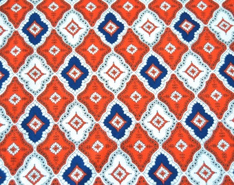 50% off code in Shop Announcement - Vintage Cotton Patriotic Diamond Fabric - 1/2 yard x 44 inches
