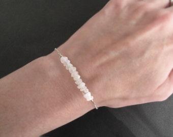 Bridesmaid Jewelry, Moonstone Bracelet, Gemstone Bar Bracelet, Bridal Jewelry, Spring Wedding, Bridesmaid Gift, Bespangled Jewelry