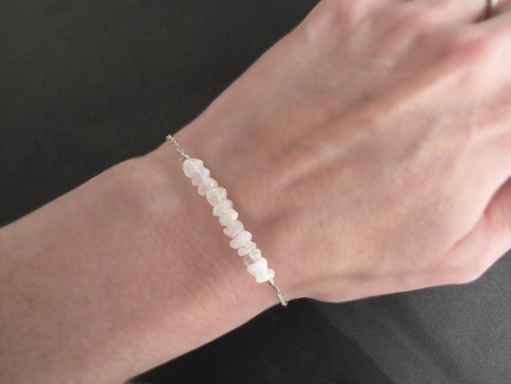 Bridesmaid Jewelry, Moonstone Bracelet, Gemstone Bar Bracelet, Bridal Jewelry, Spring Wedding, Bridesmaid Gift, Bespangled Jewelry