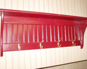 36 Inch Country Coat Rack Wall Shelf with Brass Hooks Red