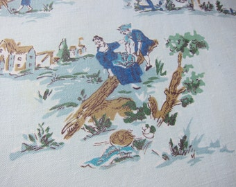 Rustic country,  vintage cotton fabric, blues craft fabric, toile  type,  1950s upholstery craft weight. decorator fabric, country fabric