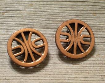 Vintage RENOIR Copper DANCE Modernist Clip Earrings