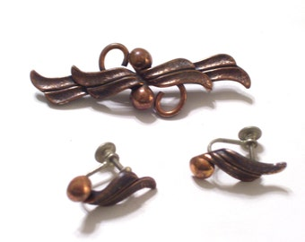 Vintage Copper Pin Earrings Set, Bell Trading Post Jewelry, Leaf and Berry Pin Brooch, Screwback Earrings