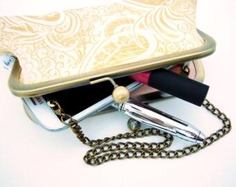 Wedding Clutch, Flower Girl, Gold Brocade, Chain Handle, Mini Clutch,Phone Case, Peach,