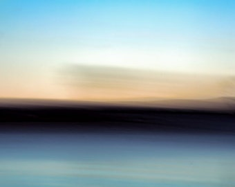 "Abstract landscape photography black horizon blue lake trees nature blur  - ""Windswept"" 8 x 10"