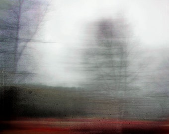 """Abstract landscape photography autumn forest trees surreal woodland fall red black dark  - """"Windswept"""" 8 x 10"""