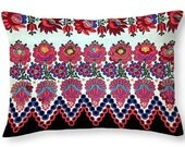Throw Pillow Hungarian Magyar Folk Art Embroidery from Sioagard Photo Print square 14x14 to 26x26 or oblong 20x14 Accent Home Decor